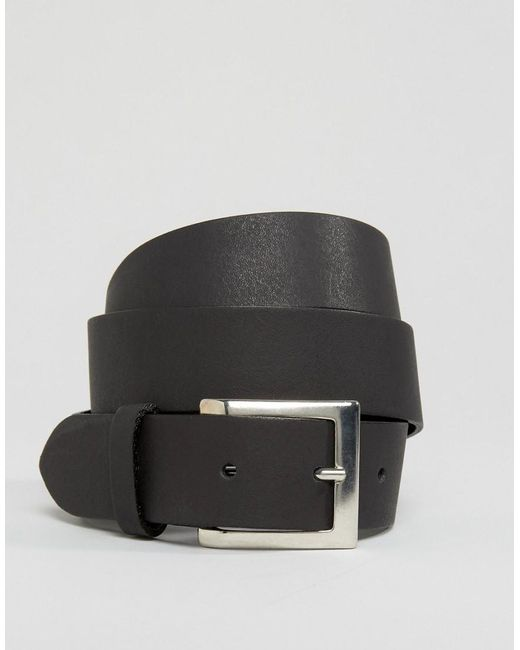 asos leather silver buckle waist and hip belt in black lyst