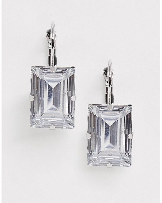 ASOS Metallic Earrings With Square Crystal Drop In Silver Tone