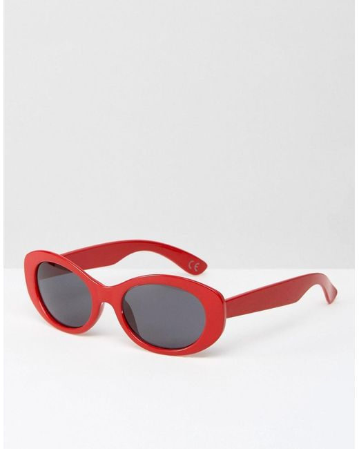 ASOS | Oval Rounded Sunglasses In Red for Men | Lyst