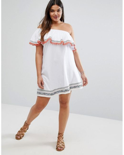 Asos One Shoulder Sundress With Geo- Trims And Pom Poms In