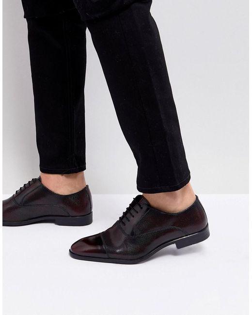 5e5967c64c ASOS - Red Zapatos Oxford de cuero burdeos con detalles cortados a lser de  ASOS for ...