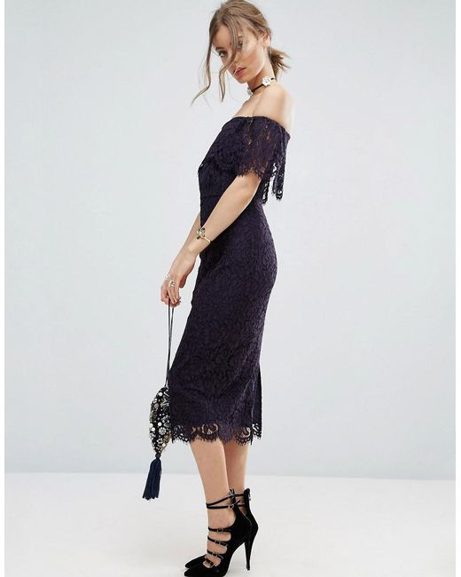 ASOS | Blue Lace Bardot Midi Pencil Dress | Lyst