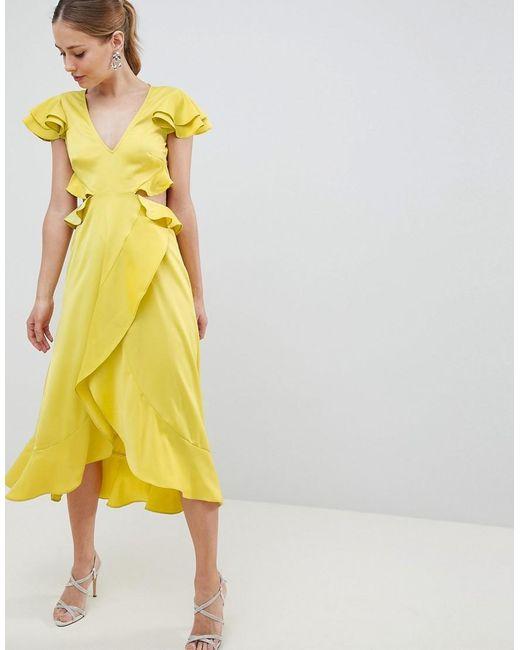 ASOS Midi-jurk Van Satijn Met Ruche En Uitsnijding Op De Achterkant in het Yellow