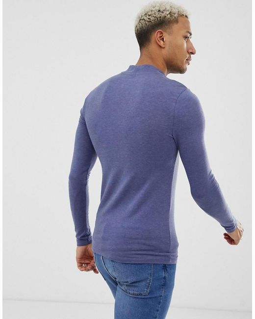 2edd226a ... ASOS - Muscle Fit Long Sleeve Turtle Neck T-shirt With Stretch In Blue  for