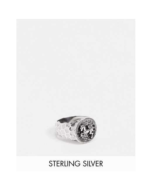Кольцо-печатка Из Полированного Стерлингового Серебра С Дизайном В Виде Лошади ASOS для него, цвет: Metallic