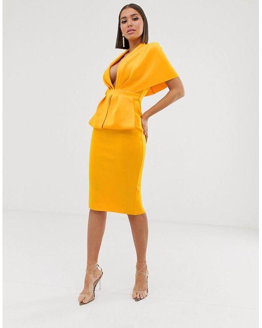 Платье Миди С Глубоким Вырезом И Баской ASOS, цвет: Yellow