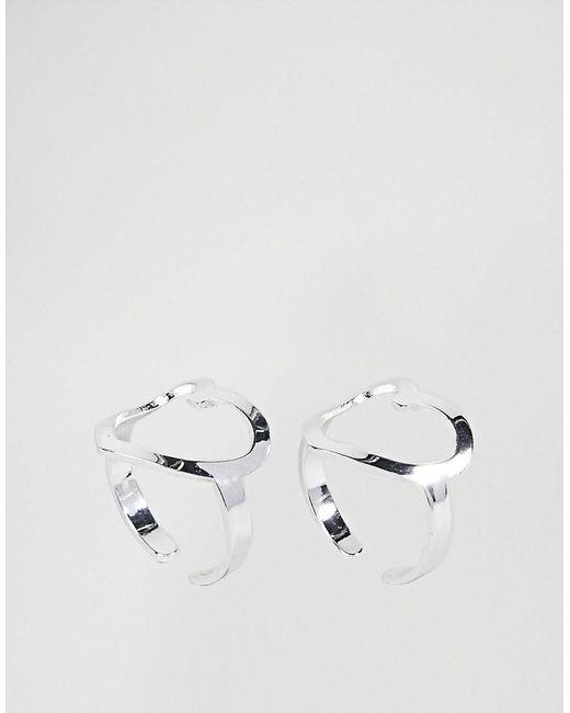 Cheap Monday Heart Ring Set - Silver yAsTei