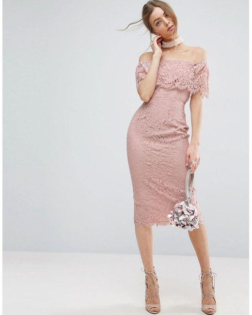 ASOS | Pink Lace Bardot Pencil Midi Dress | Lyst