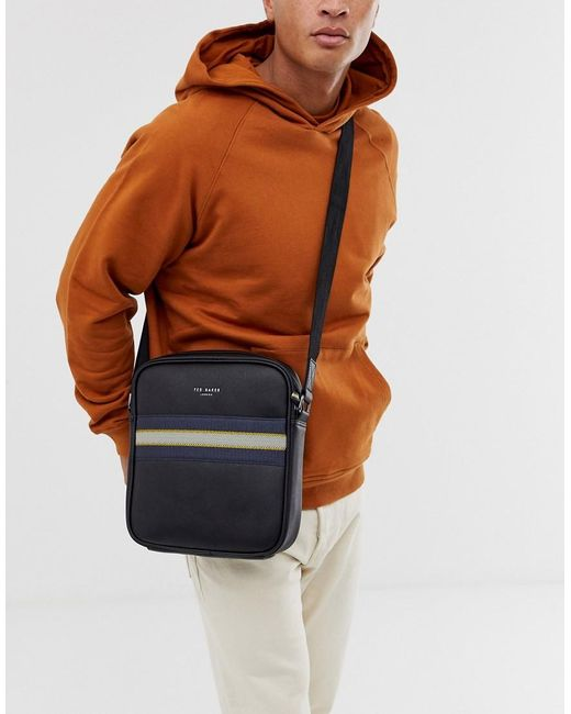 Ted Baker Neeve Webbing Flight Bag In Black for men