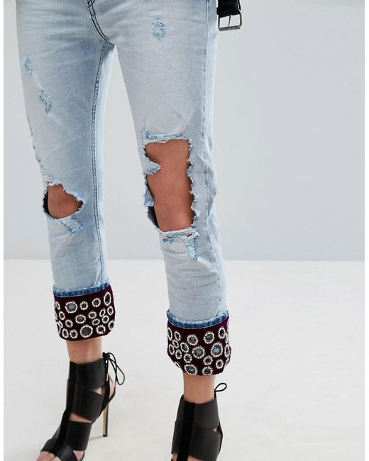 replay boyfriend jeans with embellished turn up in blue lyst. Black Bedroom Furniture Sets. Home Design Ideas