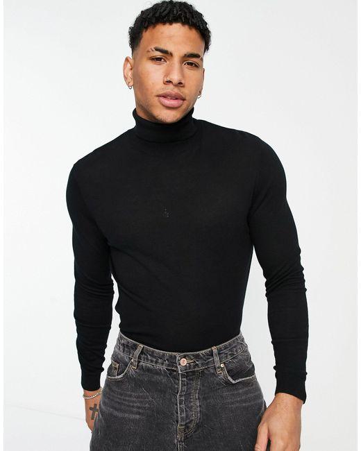 Черный Хлопковый Джемпер С Отворачивающимся Воротником ASOS для него, цвет: Black