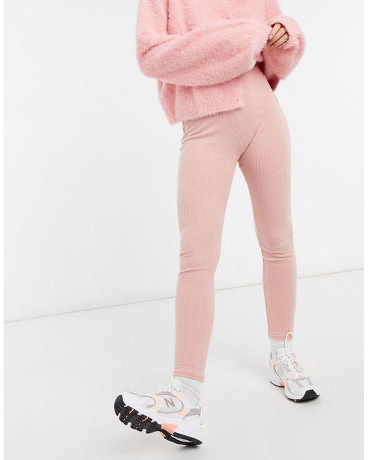 New Look Pink – Gerippte Lounge-Leggings