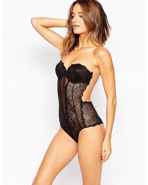 Fashion Forms - Black Lace Backless Strapless Body - Lyst