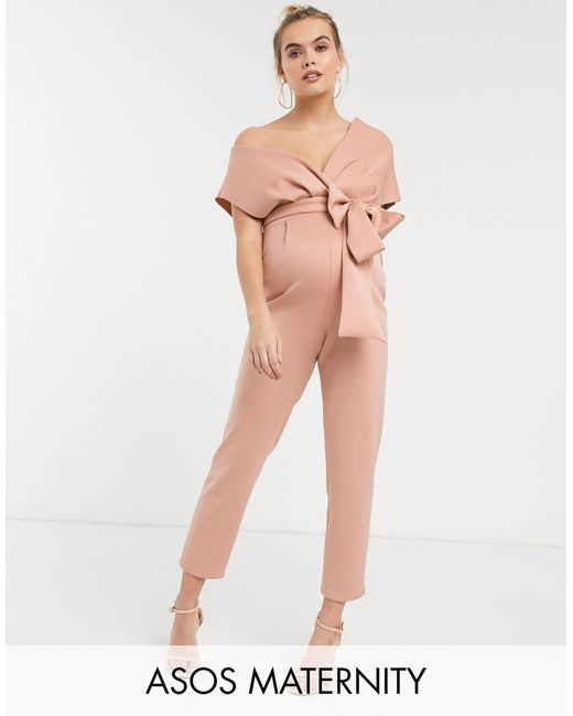 ASOS Natural Asos Design Maternity Fallen Shoulder Scuba Jumpsuit-beige