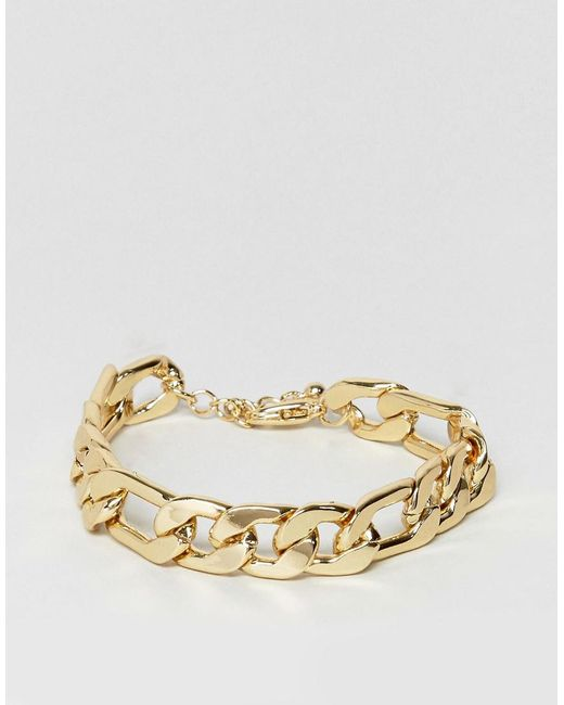 ASOS | Metallic Gold Plated Heavyweight Chain Bracelet for Men | Lyst
