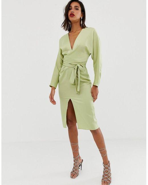 Атласное Платье Миди С Запахом И Рукавами Летучая Мышь ASOS, цвет: Green