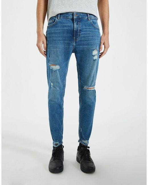 Облегающие Премиум-джинсы Голубого Цвета С Рваной Отделкой -голубой Pull&Bear для него, цвет: Blue