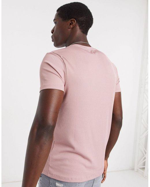 Розовая Футболка Узкого Кроя В Рубчик -розовый Topman для него, цвет: Pink