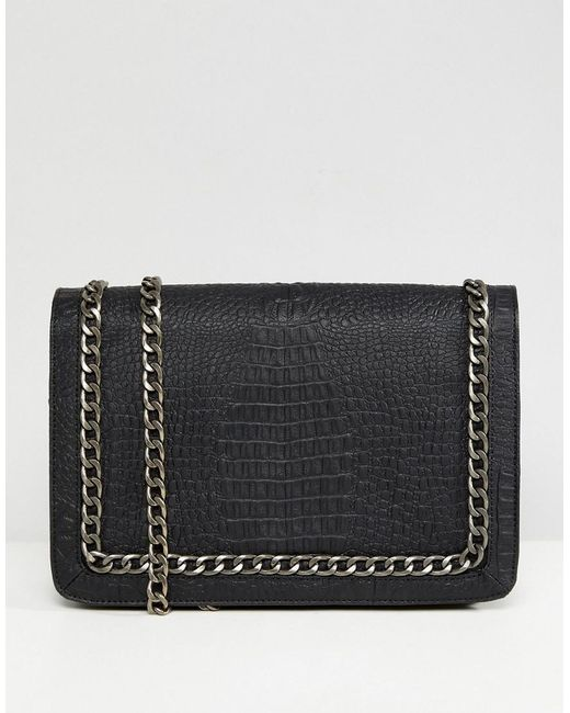 ASOS - Black Oversized Croc Cross Body Bag With Chain Handle - Lyst