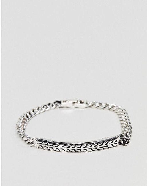Icon Brand - Metallic Premium Antique Silver Id Bracelet for Men - Lyst