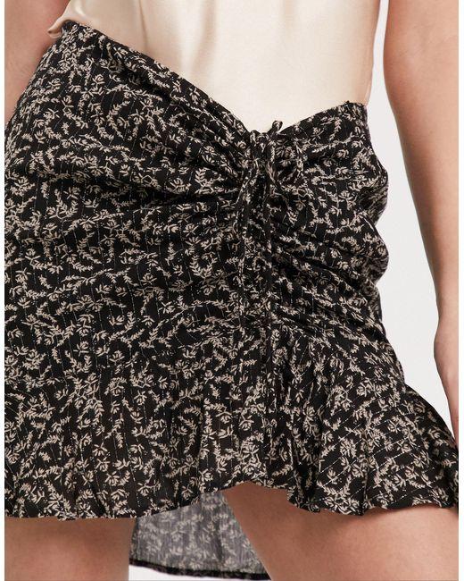 Мини-юбка С Цветочным Принтом И Присборенной Отделкой -мульти Ichi, цвет: Black