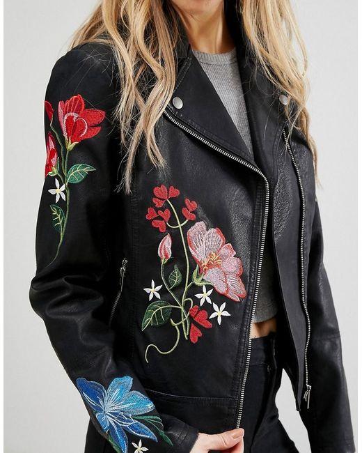 New look embroidered hero biker jacket in black lyst