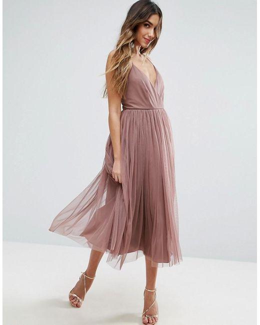 ASOS | Purple Pinny Extreme Tulle Mesh Midi Dress | Lyst