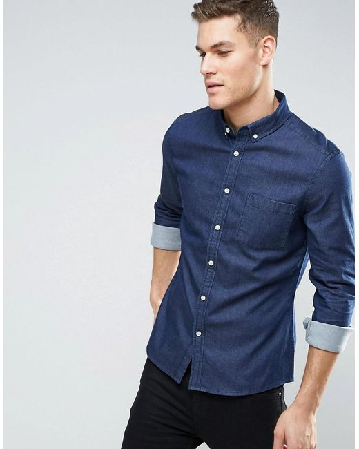 ASOS | Blue Stretch Slim Denim Shirt Rinse Wash for Men | Lyst