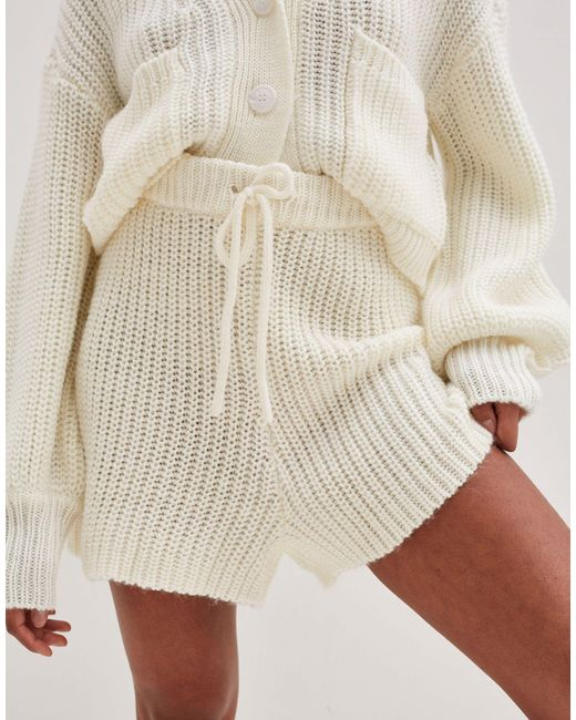 4th & Reckless Natural Knitted Runner Short Co Ord