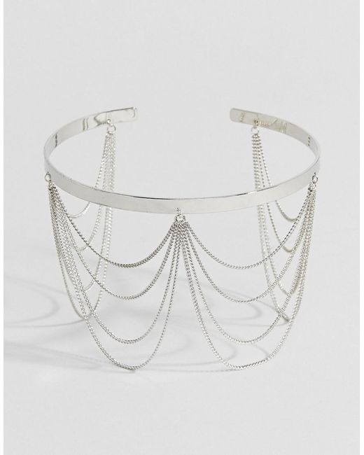 ASOS - Metallic Draping Chain Arm Cuff - Lyst