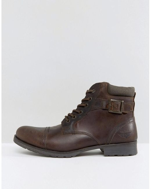 red tape lace up boots in brown for men lyst