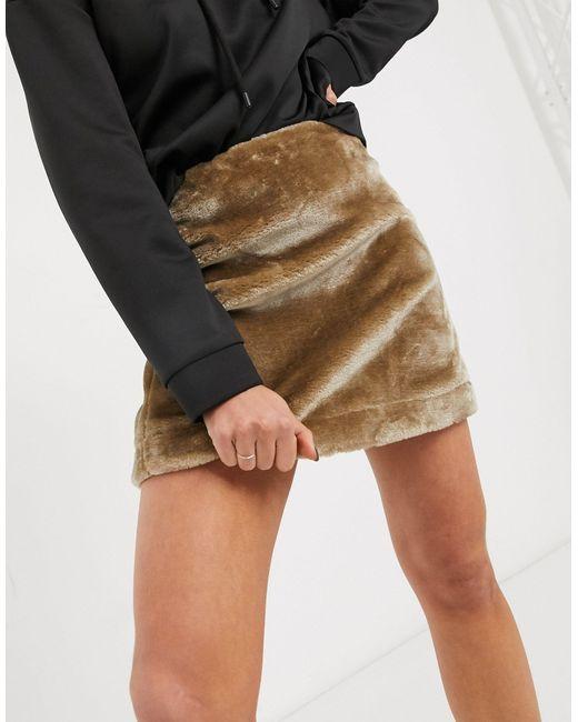 Мини-юбка Из Искусственного Меха ASOS, цвет: Brown