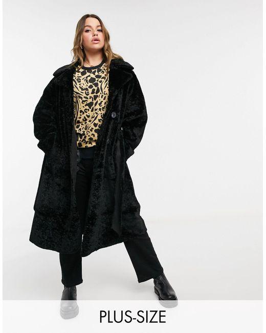 Черное Пальто-тренч Из Искусственного Меха -черный River Island, цвет: Black