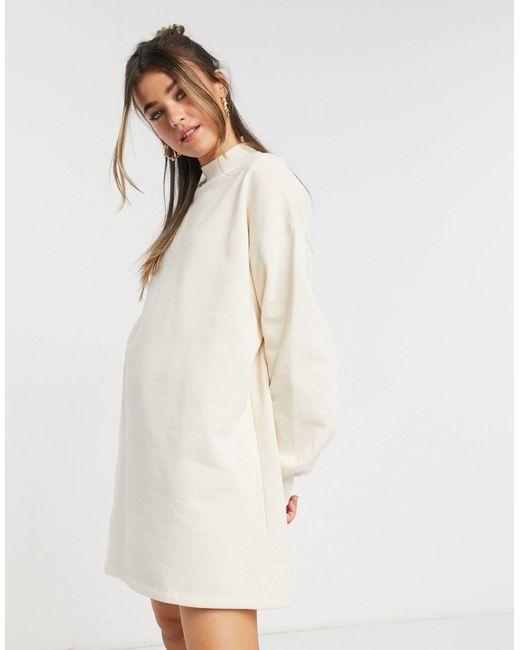 Платье-джемпер Цвета Экрю С Высоким Воротником -белый Bershka, цвет: Natural