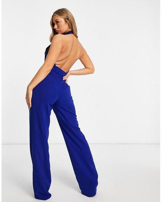 Vesper Blue High Neck Wide Leg Open Back Jumpsuit