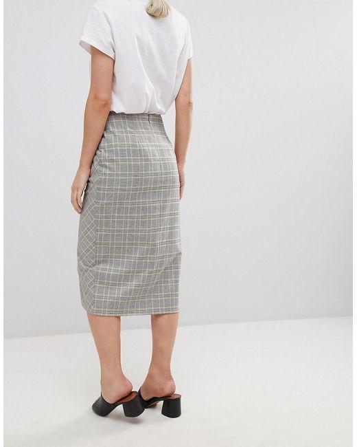 e794bd37a53262 Jupe courte ajustée style portefeuille à carreaux avec boutons femme de  coloris gris