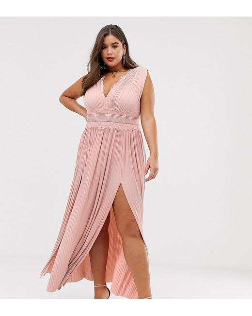 ef10a2b049 ASOS - Pink Asos Design Curve Premium Lace Insert Pleated Maxi Dress - Lyst  ...