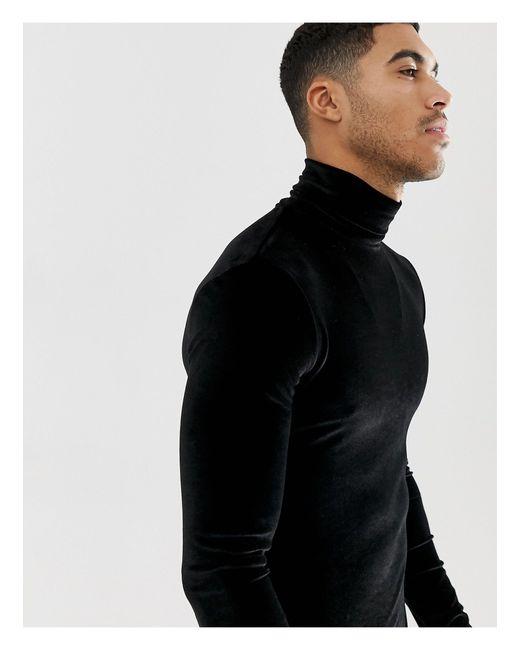 Camiseta ajustada y elástica ASOS de hombre de color Black