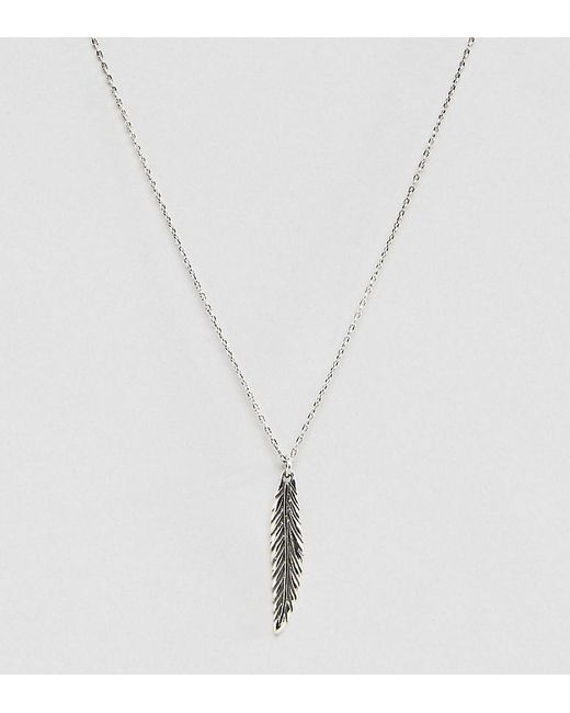 ASOS | Metallic Sterling Silver Necklace With Feather Pendant for Men | Lyst