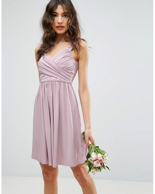 ASOS - Natural Design Bridesmaid Drape Front Mini Dress - Lyst