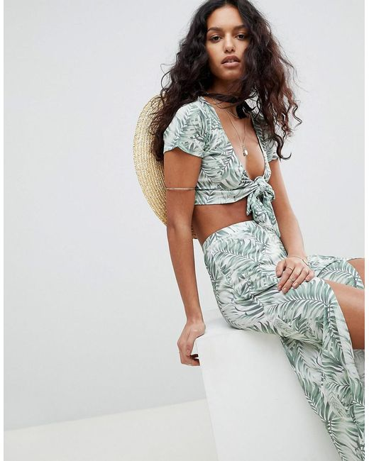 ASOS - Multicolor Tropical Print Tie Front Beach Co Ord Top - Lyst