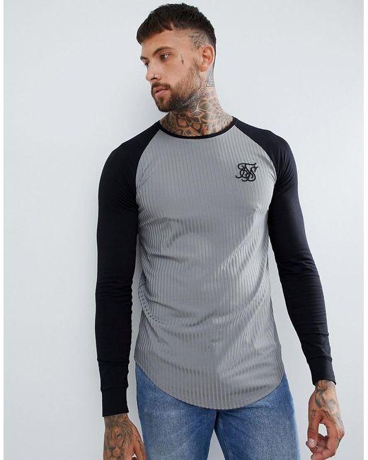 Camiseta gris de canalé con manga raglán Siksilk de hombre de color Gray