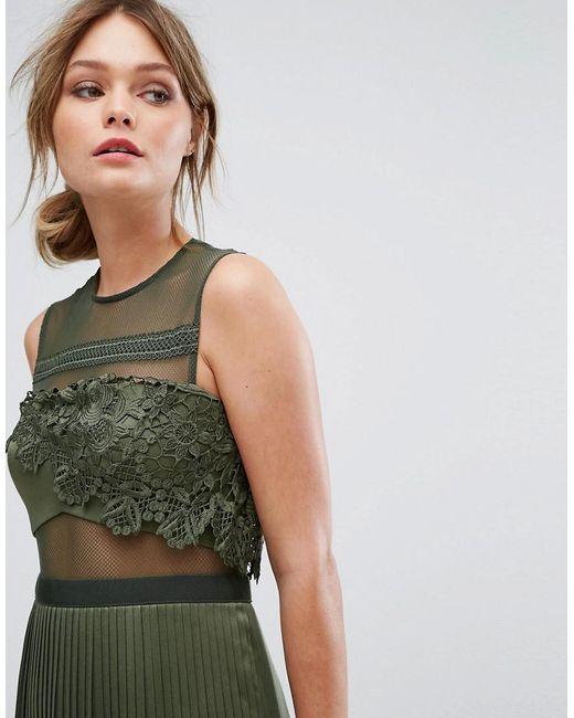 Mini Dress With Pleated Satin Skirt - Green Three Floor g846NZ