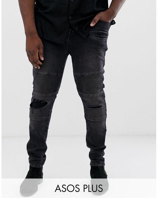 Супероблегающие Джинсы В Байкерском Стиле С Потертостями ASOS для него, цвет: Black