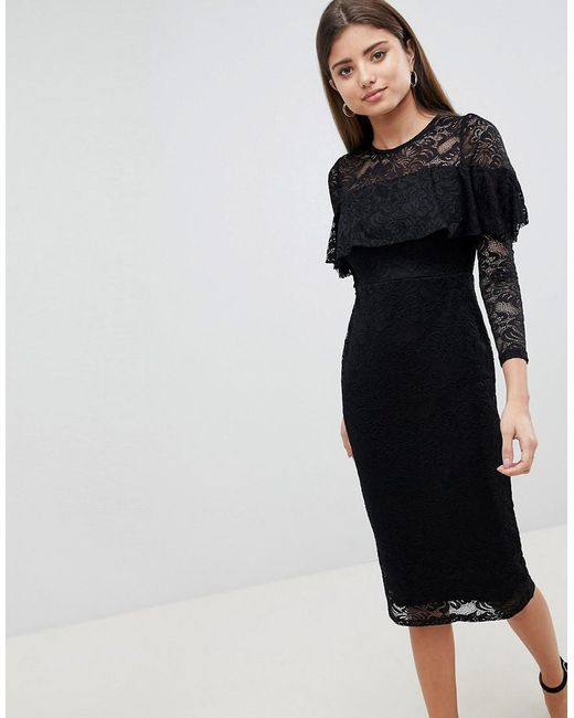 6ee9c51b ASOS - Black Asos Midi Lace Pencil Dress With Long Sleeves And Frill Detail  - Lyst ...