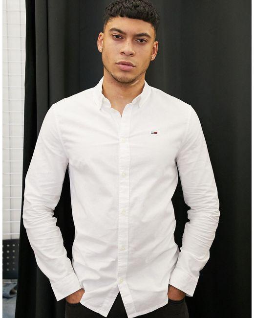 Белая Оксфордская Приталенная Рубашка -белый Tommy Hilfiger для него, цвет: White