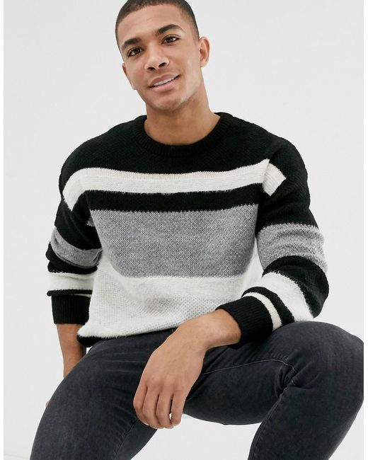 high quality guarantee most desirable fashion best value Men's Black Oversized Jumper In Monochrome Stripe