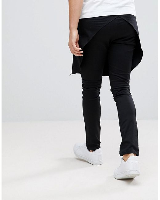 Super Skinny Trousers With Skirt And Exposed Zips - Black Asos Cost 32UdbYy1