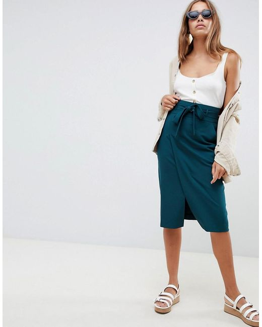 ASOS Green Tailored Pencil Skirt With Obi Tie