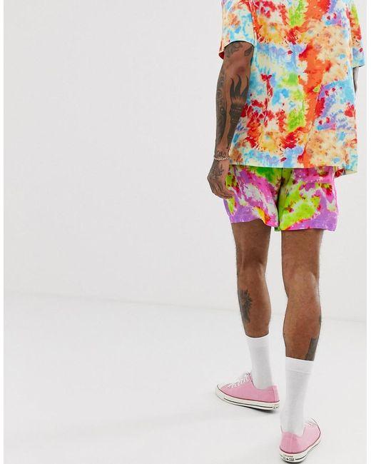 b1e4264b7f47 ... ASOS - Yellow Co-ord Slim Shorter Shorts In Tie Dye Print for Men -